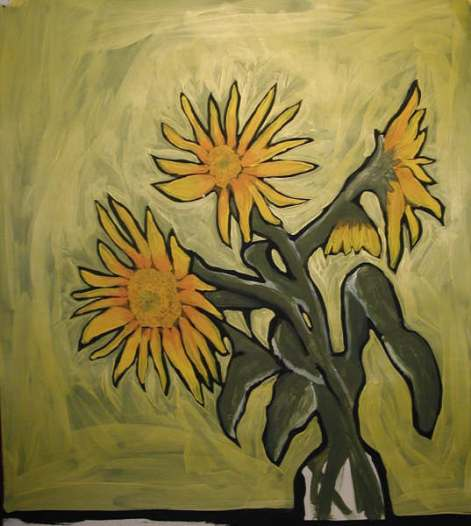 sunflowers study yellow ~NFS, PC~Acrlyic~18x24""