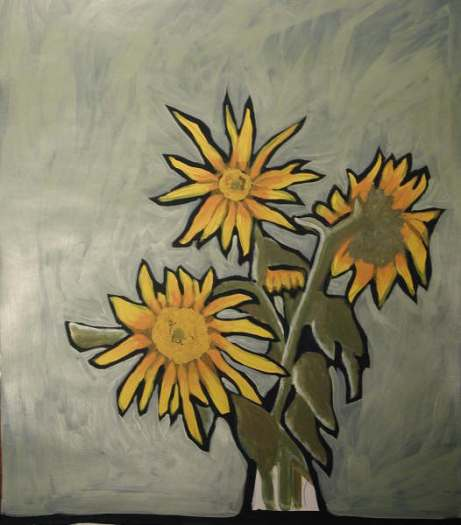 sunflowers study green ~NFS,PC~ Acrlyic~18x24""